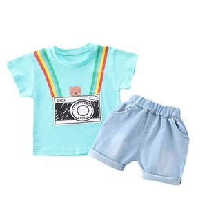 Summer 2020 cute baby boys suits casual Infant Outfits cartoon short sleeve T shirt+shorts 2pcs set baby boy clothes boys outfits B1553