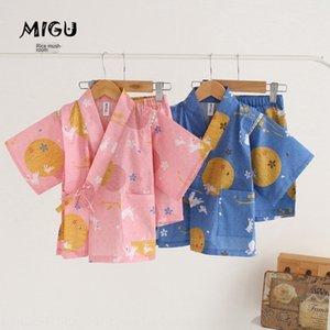 sbRbp летние новые продукты, перечисленные детский хлопок кимоно Кимоно пижамы родитель-ребенок костюм пот испаряться одежда домашняя одежда детская ра