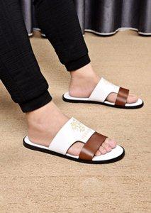 Summer Men's Sandals British Fashion Leather Beach Sandals Mens Casual Massage Non-Slip Slippers Flats Shoes
