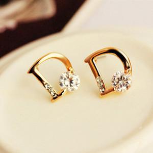 Pendientes Hot New Oorbellen Brincos Bijoux Crystal Zircon Letter Stud Earrings For Women Jewelry Boucles d'oreilles sterling silver2020
