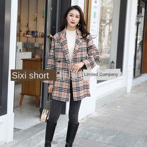 Dan Yafei nueva lana de juego pequeño abrigo de lana de doble cara color de la luz baboge de doble cara abrigo de cachemira femenina