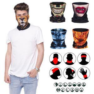 Cadılar Bayramı Başörtüsü Maskeler Açık Bisiklet Boyun Bandana Fular Güneş kremi Yüz Kapak Erkek Kadın Spor Koruyucu Yüz Shield 30 Desenler