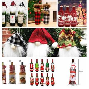 Noel Kırmızı Şarap Şişesi Kapağı Çanta Noel Partisi Akşam Tablo Dekor Hediyeleri Şarap Şişesi Triko Noel Parti Süsleri DWD534