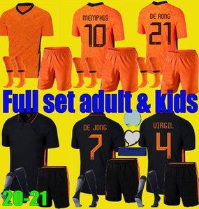 الرجال الاطفال 20 21 هولندا لكرة القدم بالقميص DE JONG WIJNALDUM هولندا فيرجيل مجموعات كرة القدم قميص 2020 2021 STROOTMAN ممفيس مجموعة الفتيان زي