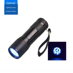 9LED фиолетовый лак для ногтей фонарик flashlightuv небольшой фонарик водить УФ отверждения лампы ультрафиолетового лака для ногтей лампа