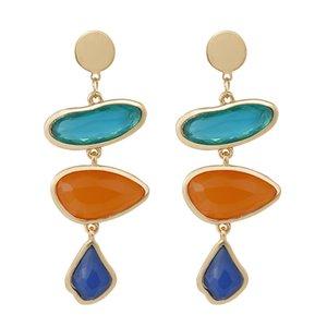 Moda colorido de resina brincos para mulheres jóias simples geométrica pingente longa Declaração Dangle Earring Jewely