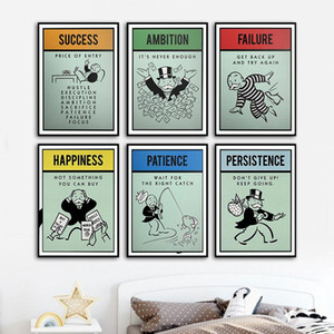 monopoles Alec Inspiration succès Ambition La patience toile Poster Wall Art pour le salon Home Decor (No Frame)