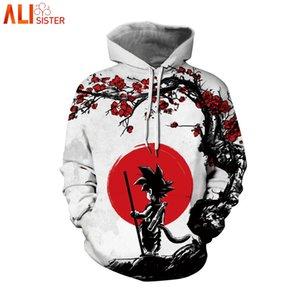 Alisister Anime Goku Hoodies Long Sleeve Spring Pocket Hooded Sweatshirts 3D Digital Print Men Women Casual Pullover Tops 3XL