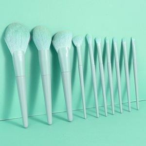 10PCS set Blue Cosmetic Makeup Brushes kit Foundation Powder Eyeshadow Brush Set daily basic makeup requirements make up brush