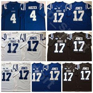 Kolej Futbol Duke Blue Devils Dışarıda 4 Myles Hudzick Jersey 17 Daniel Jones Üniversitesi Siyah Mavi Beyaz Dikişli Renk Nefes Yüksek
