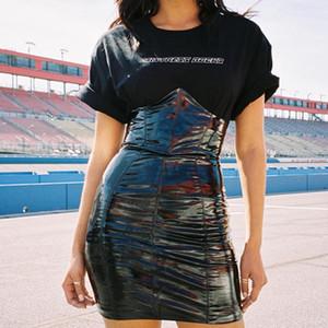 Pole Dance костюм черный высокой талией Юбка Женщины Американская Одежда Ночной клуб платье Gogo Dancer Performance Rave Экипировка DCC526