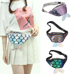 Waist Bag Sequins Mermaid Women Fashion Shiny Pouch Zipper Chest Belt Waist Bum Bag Phone Travel Purse Handbag