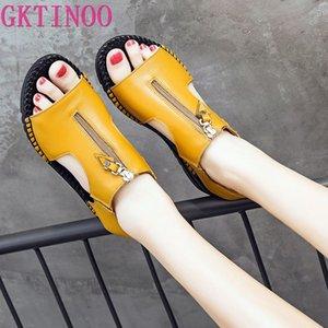 GKTINOO femmes Sandales d'été dames en cuir véritable chaussures sandales femmes Talons plates Chaussures Femme