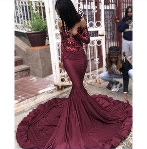 Mermaid Burgundy Prom Dresses African Black Girls Long Sleeves Pageant Holidays Graduation Wear Formal Evening Party Gowns Plus Size
