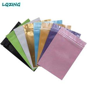 100pcs Small Colorful Aluminum Foil Ziplock Bag Flat Bottom Metallic Mylar Matte Black Zip Bag Herbal Tea Bags