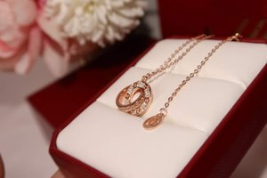 Designer necklace luxury ious diamond necklace S925 sterling silver double ring chain length 45+5CM 18k gold plated box