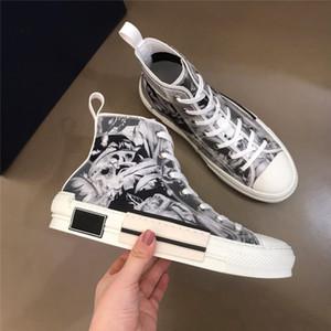 2020 B23 19SS Técnico exterior sapatos casuais Oblique alta Low Top Obliques Couro Flores elegante e confortável Luxo Sapatos