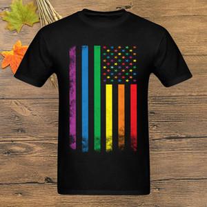 Men Rainbow American Flag T Shirt Gay Pride Tshirt Lesbian T-Shirt Colorful Striped Tops Tees Vintage Clothing Woman Hip Hop