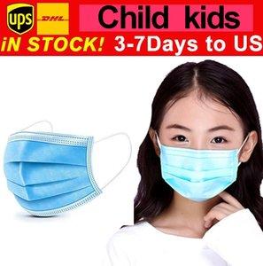 Máscara Student Crianças descartáveis rosto com Elastic Ear laço 3 Ply respirável para Bloqueio Poeira Air Anti-Poluição Máscaras estilista