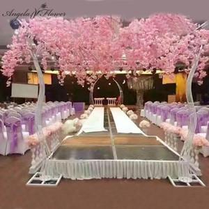 2.6M Wedding Arch Props Estrada Citado Artificial Flor da árvore de cereja Fique Arch Ferro Quadro de Fundo Decor Wedding Party Stage Hotel