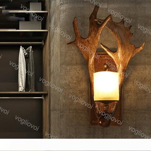 Wall Lamps American Rural Antlers Iron E14 Antique Lamp Body 110-240V For Livingroom Bedroom Clothing Store Club Coffee Shop DHL