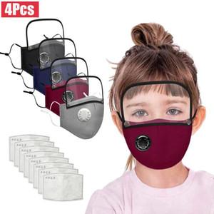 4 PC-Beatmungsgerät für Kinder Gesicht Maks Für Keimschutz Abnehmbarer Augen-Schild-Baumwolle Gesicht Maks Wiederverwendbare Maskking Mascarillas Bandana