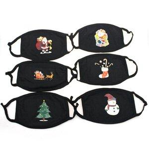 Рождество лицо Маска против пыли Санта-Клаус Рождественской елки печать маски черного хлопка моющегося многоразового Printing Маска 6styles RRA3296