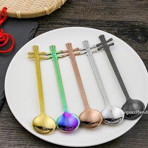 Stainless Steel Musical Instrument Shape Spoon Tea Coffee Spoon Stirring Scoop Kitchen Tool Tableware Flatware CT0295