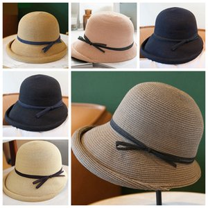 Women Straw Hat Bow Knot Ornament Lady Retro Wide Brim Hat Travel Hoilday Beach Personality Foldable Female Casual Outdoor Sun Hats LJJP107
