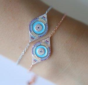 2020 factory summer new design rose gold color light blue enamel evil eye shape link chain girl women fashion bracelet