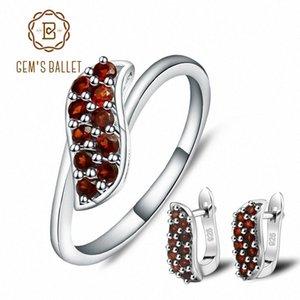 BALLET DE GEM en forma de S Anillos granate natural de piedras preciosas pendientes de clip 925 granada joyería fina Conjunto para las mujeres lnNw #