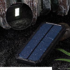 Carregador solar portátil 15000mAh Solar Battery Charger Dual USB Solar Phone Charger Power Bank backup de bateria com 6 LED Flashlight
