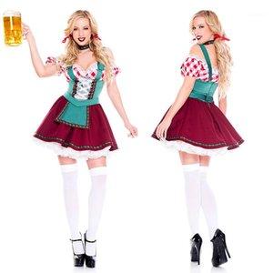 Designer Halloween Kleider der Frauen Bar Kellner Leistung Kleid Kontrast-Farben-Mädchen der Wiesn Kleidung Lässige Frauen