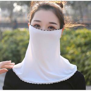 Женщины Вуаль шарф шифон Солнцезащитный шеи Face Тонкая маска Ice Шелковый маска уха Воротник езда дышащий маска песка Proof полотенце для лица LJJP268