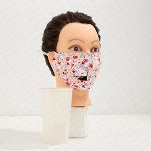 Женщины соломы Пейте Face Mask моющийся Цветочные маски против пыли Cotton Face Mask легко пить воды Пиво Сок D72112