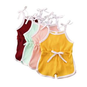 Baby-Mädchen-Spielanzug 4 Farben Solid Color Sling Jumpsuits Baby-Strampler Kleinkind Onesies Kinder Lersure Kleidung 1-6T 060714