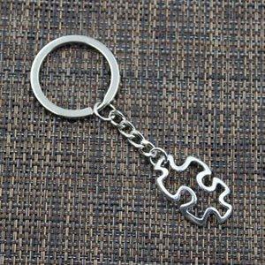 Yeni 20pcs / lot DIY Aksesuarları Antik gümüş Çinko Alaşım Puzzle Piece takılar Zincir anahtar Halka Anahtarlık