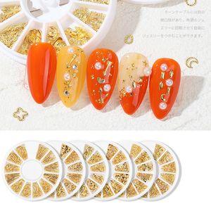 1 Wheel 3D Nail Rhinestones Hollow Metal Gold Silver Rose Gold Rivet Star Moon Flake Sequins Nail Art Decoration Manicure