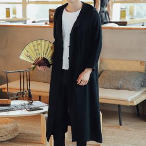 Nouveau trench-coat à capuchon et à long homme lâche Mori style chinois antique Windbreaker coton lin manteau en lin coton