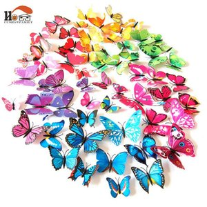 12pcs  lot Colorful romantic butterfly Wall Sticker diy home Decor for refrigerator Kids Room wedding Poster Holiday party decor fcuI#
