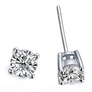 2 карата пара оптовой серьги стержня для женщин 4 зубца гальваническим платины Обручальное Anniversary SONA синтетических алмазов серьги стержня