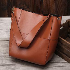 2020 nuevo estilo de cuero bolsos de señora Bucket bolsa de la mujer retro Big Bag Mensajero