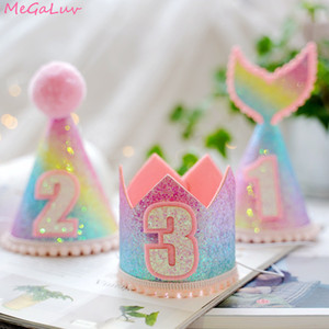 1pcs 1st 2nd 3rd Year Old Number Baby Kids Birthday Crown Caps Mermaid Tail 1st Birthday Hats Newborn Baby Party Decorations