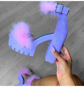 Femmes fourrure Sandales plate-forme 2020 Femme Leopard talon haut été Slides Toe Peep Women dames Imprimer Pump Chaussures Femmes Taille Plus