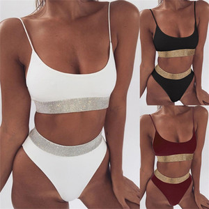 High Waist Split Body Swimwear Sequins Swimsuit Solid Color Bikini Swimsuits Simple Durable Rich Color Sporting Articles Good 23sma E2