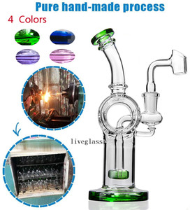 Colored Solid Glass Water Pipes Shower Heady Glass Bongs Perc Klein Recycler Oil Rigs Hookahs Smoking Accessories 2 Function Bubbler 14MM