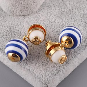 Special style blue strip Pearl beads in 1.1cm stud Earring 18k gold plated women top quality jewelry Blue color free shipping PS5674