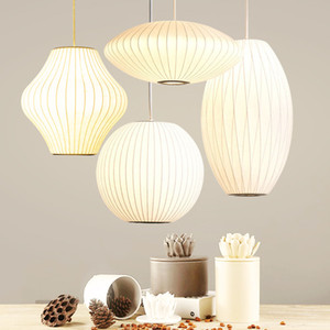 Modern George Nelson Style Silk Bubble Pendant Lamp Living Room Dining Room Bedroom Hanging Ball Cigar Saucer PA0363