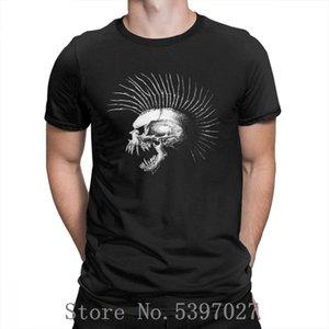 Mohawk Череп Halloween Horror Men T Shirt Очищенная 100% хлопок Одежда Tee Shirt футболки Street круглый воротник Повседневная