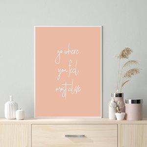 Citações da vida impressão de viagem Cotações Wall Art poster da tipografia minimalista da lona representa pintura para Living Room Home Decor